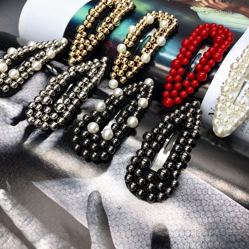 1pcs Fashion Red Black Pearl Hair Clip For Women Elegant Korean Design Snap Barrette Stick Hairpin Hair Styling Accessories
