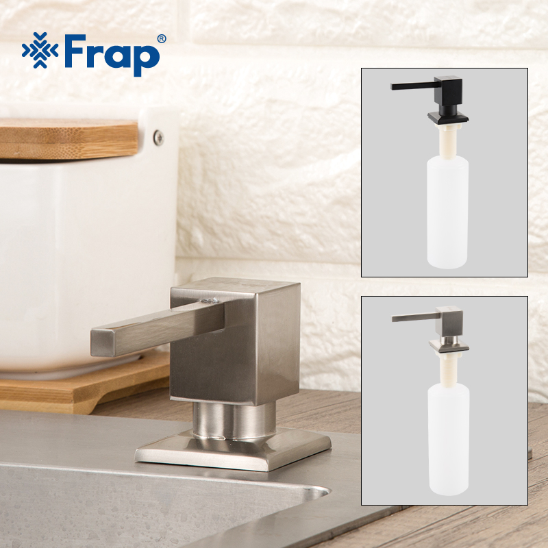 FRAP Stainless Steel Sink With Detergent Bottle Pressing Soap Dispenser Nordic Kitchen Black Wash Basin Accessories