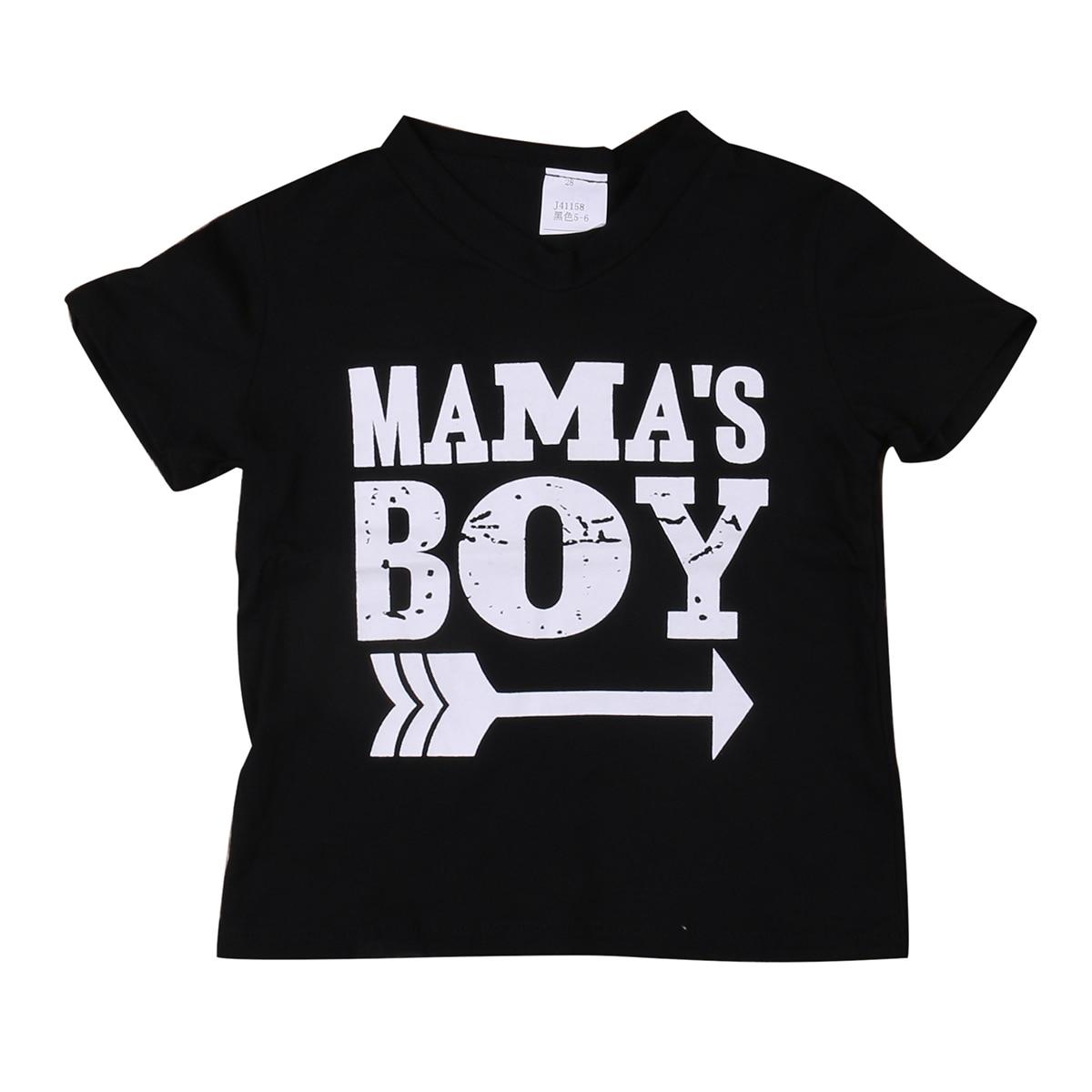 2017 New Arrive Kids Tops Boys Children Mama Boy Print Short Sleeve Cotton T Shirt Summer Tee