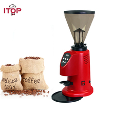 ITOP Heavy Duty Electric Coffee Grinder, Commercial Bean Burr Red Professional Grinding Machine 110V 220V