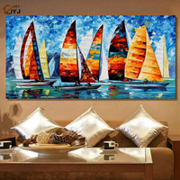 JYJ ART Thick Texture Yacht Race 100 Hand Painted Modern Abstract Oil Painting Canvas Wall Art