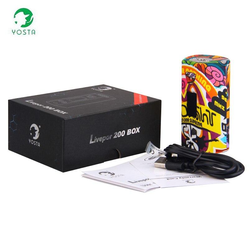 D'origine Yosta Livepor 200 w boîte Mod 160 W Vape VW/TC avec Protection de bobine sèche OLED écran Cigarette électronique MOD