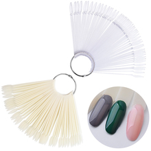 hot deal buy 50 pcs /set nail art tips display practice fan round head nail polishswatches nail color sample nail art tools