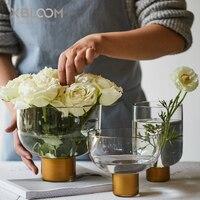 간단한 스타일 아트 황금 투명 유리 꽃병 꽃 냄비 과일 플레이트 홈 테이블 꽃꽂이 웨딩 장식 물 문화 꽃병 홈 & 가든 -