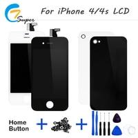 1 UNIDS No Pixel Muerto Para iPhone4 4S Negro blanco Pantalla LCD de Pantalla Táctil Con Digitalizador Asamblea de la contraportada + botón + Herramienta + Cámara