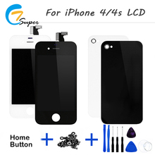 1PCS No Dead Pixel For iPhone4 4S Black white LCD Display Touch Screen With Digitizer Assembly back cover+button+Tool+Camera