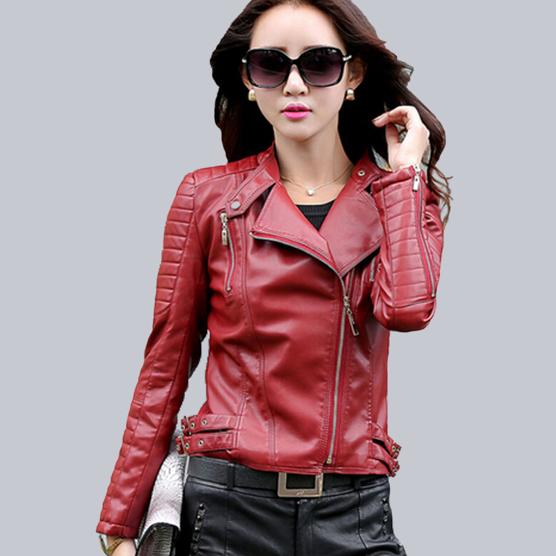 Popular Women Motorcycle Red Leather Jacket-Buy Cheap Women ...