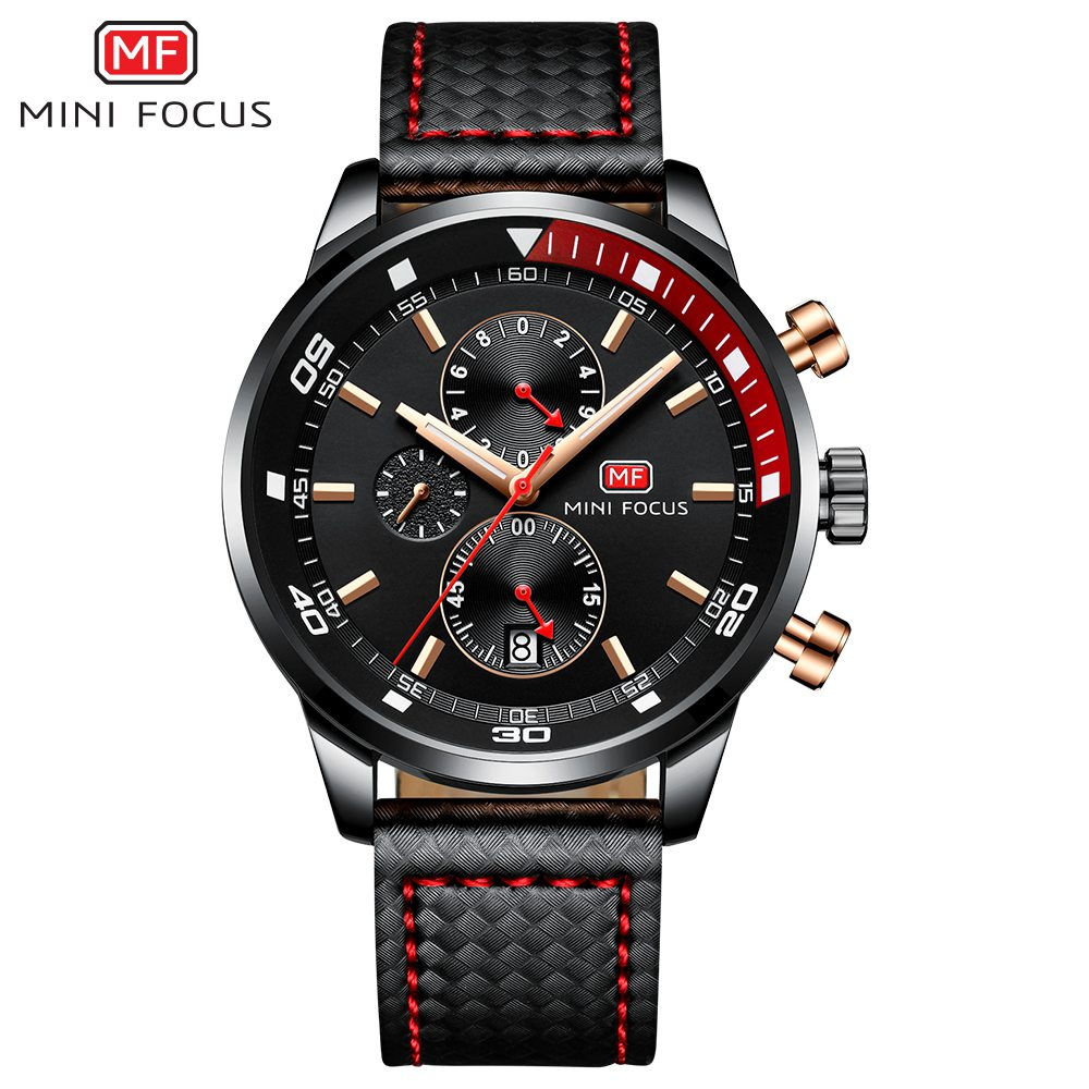 MINIFOCUS Top marca de lujo hombres reloj de negocios de cuero relojes negro café azul deporte masculino reloj para caballero