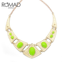 The 2017 Golden Colored Necklaces and The National Style Geometric Figures Inlaid with Green Stone Necklaces Are Women's Jewelry