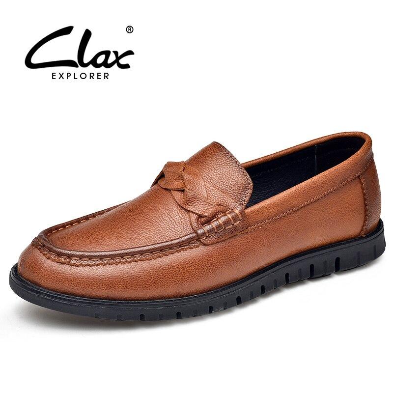 CLAX رجل الأحذية الجلدية جلد طبيعي عارضة الأحذية الذكور مصمم المتسكعون تنفس الصيف الخريف الترفيه حذاء قارب الأحذية-في أحذية رجالية غير رسمية من أحذية على  مجموعة 1