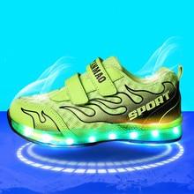 Enfants Chaussures pour Filles Lumineux Sneakers Lumineux LED Lumière de Chaussures pour Garçons USB Charge Chaussures D'été Chaussures de Sport 416