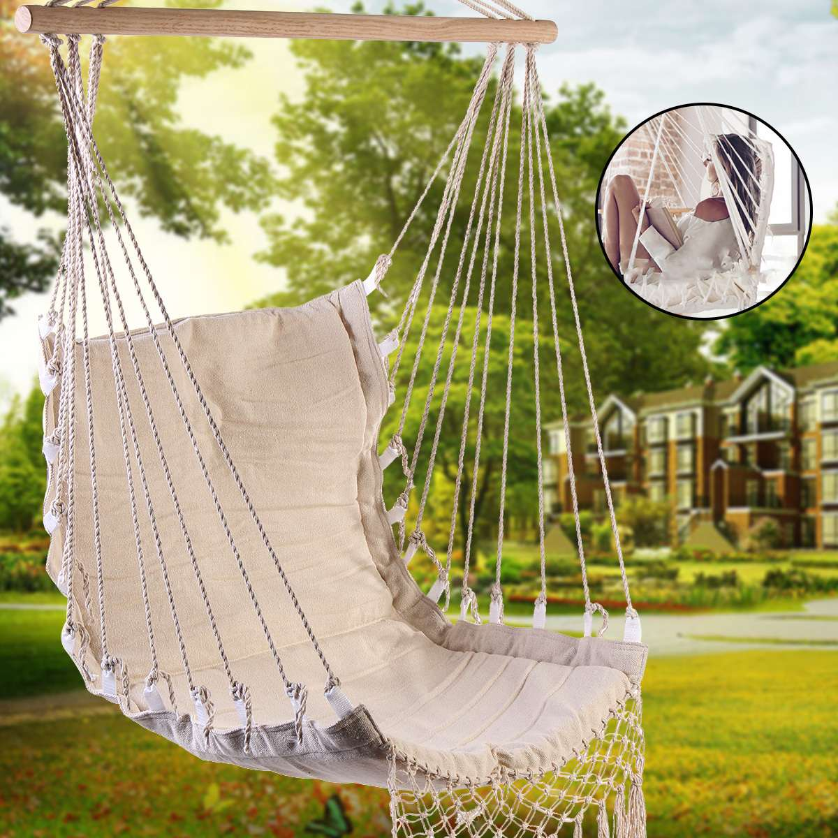 Cotton Canvas Hammock Chair Swing Hanging Chair College Dormitory Chair Indoor Outdoor Garden Kids Adult Furniture Hanging Swing