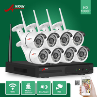 ANRAN Surveillance CCTV P2P HD 8CH WIFI NVR Day Night Video Outdoor Waterproof 36 IR 1080P