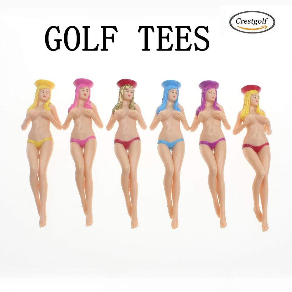CRESTGOlf Style 6pcs/pack size 75mm(2.95inch) Sexy Bikini Lady Golf Tees Gift Newest Design Plastic Golf Tees Golf Accessories