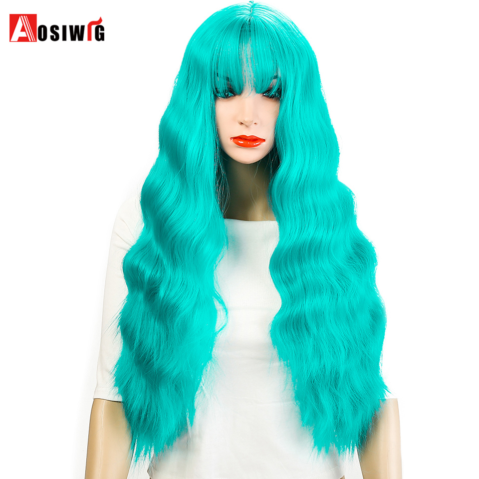 AOSIWIG Green Pink Blue Long Curly Wig Synthetic Cosplay