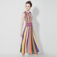 Micosoni High Quality Italian Fashion Stlye 2018 Summer New Original Knitting Dress Women's Rainbow Stripe Bohemian Dresses S L