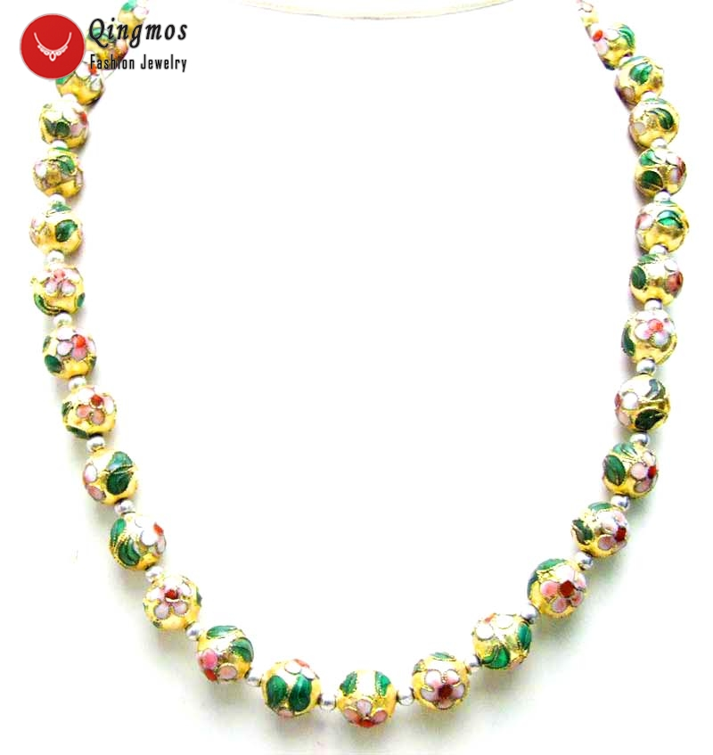 Qingmos Gold Cloisonne Chokers Necklace for Women with 12mm Gold Round Cloisonne & White Flower 20 Necklace Fine Jewelry-6065