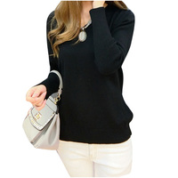 Women Sexy V Neck Sweater Loose Wool Sweater Batwing Sleeve PulloverBlackS