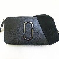 2019 new camera bag wide shoulder strap mixed color small square bag leather ladies handbag double zipper small shoulder bag M