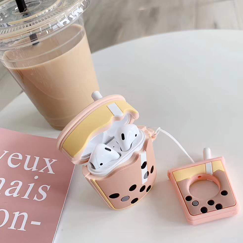 Cute Case For AirPods 2 Case Cartoon Soft Milk Bubble Tea Drink Bottle Earphone Cover For Airpods 2 1 With Finger Ring Strap New