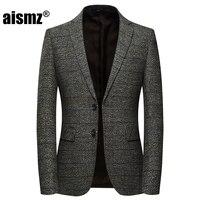 Aismz Business Casual Men Blazer Casaco Masculino Hombre Slim Fit Autumn Winter Wool Mens Blazers Jacket Vetement Homme 2018