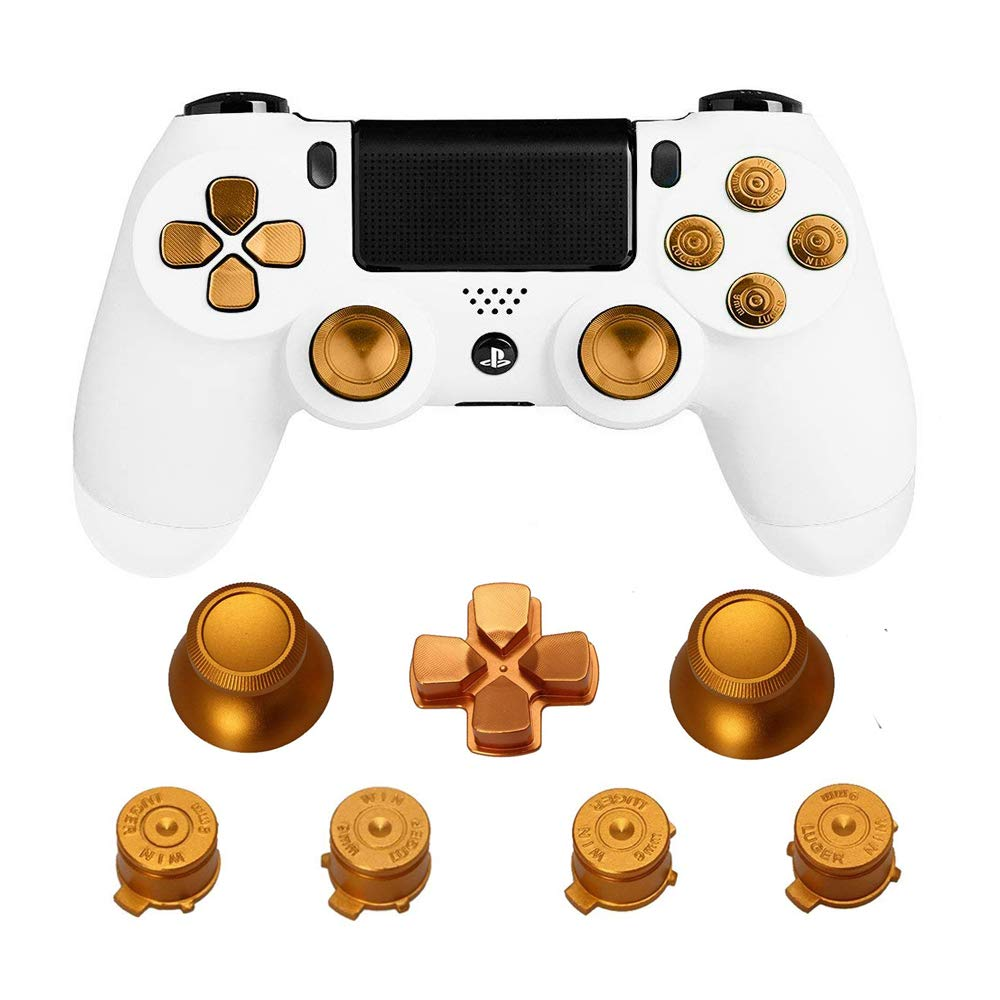 lowest price Metal Thumb Grips for PS4 Controller Aluminum Replacement ABXY Bullet Buttons Thumbsticks Chrome D-pad for Sony Playstation 4