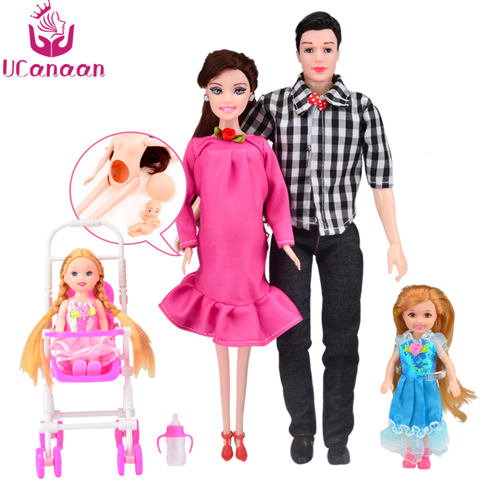 UCanaan DIY Kids Toys Family 5 People Dolls Suits 1 Mom 1 Dad 2 Little Kelly Girl 1 Baby Son 1 Baby Carriage Real Pregnant Doll