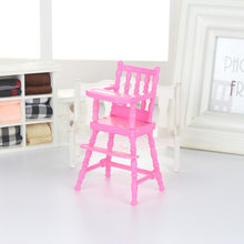 Children Pink Nursery Baby High Chair for Barbie Doll's House Baby Girls Doll House Furniture Girls Baby Doll Accessories Toy(China)