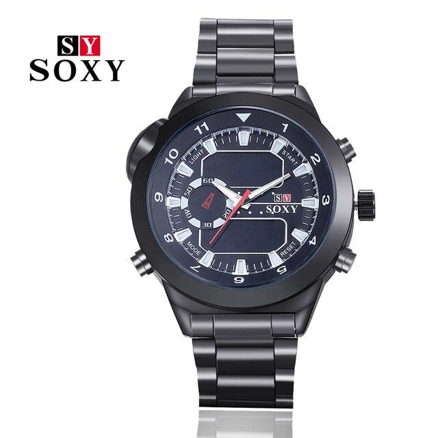 Высокое качество смотреть новый Бренд SOXY мода из нержавеющей стали циферблат мити-функция мужская повседневная часы спорт out door наручные часы