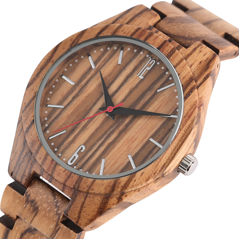 Full Wooden Zebra Pattern Wrist Watch Simple Handmade From Bamboo Wood Fold Clasp Bangle Quartz Watches Casual Mens Watch yisuya simple ladies dress bamboo wooden wrist watch women casual relax handmade nature wood quartz watch genuine leather clock