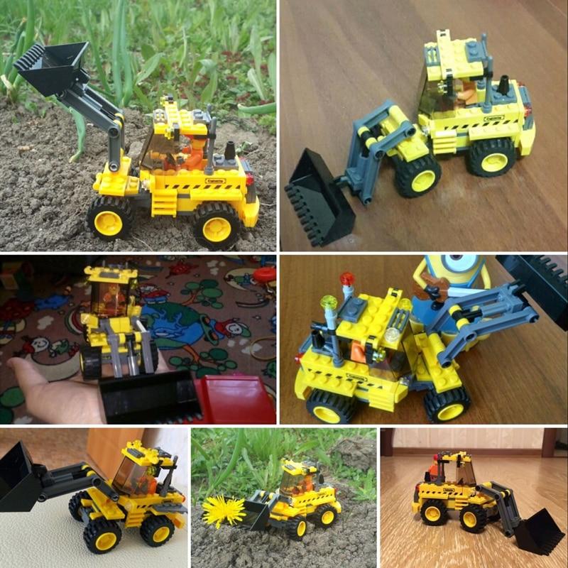KAZI 8042 DIY Kids Toy Bulldozer Excavator Model Playmobile Building Blocks Brick Compatible withlego in Blocks from Toys Hobbies