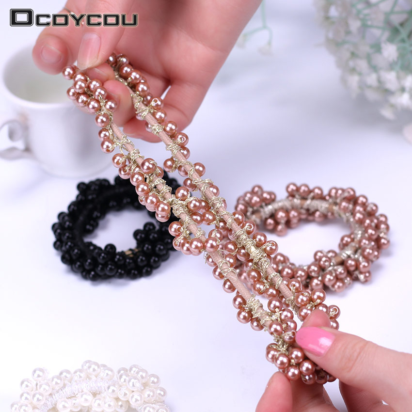 Fashion Pearl Headwear Elastic Hair Bands Hair Elastic Rubber Rope Ring Tie Hair Accessories Headband for Women 3 Colors