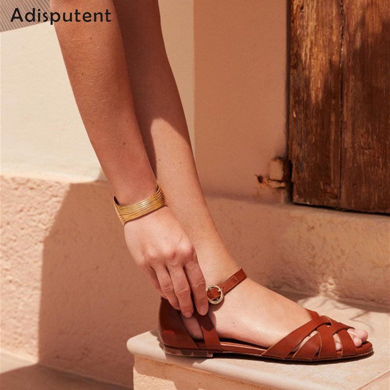 ADISPUTENT New Women Sandals Fashion Summer Women Shoes Roman Beach Flat Casual Sandals Leisure Female Ladies Sandals Women