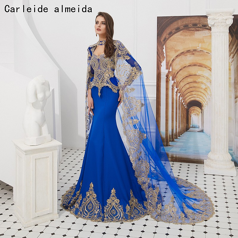 Chérie Royal bleu sirène robes de bal avec cape de luxe robe de soirée femmes robe formelle