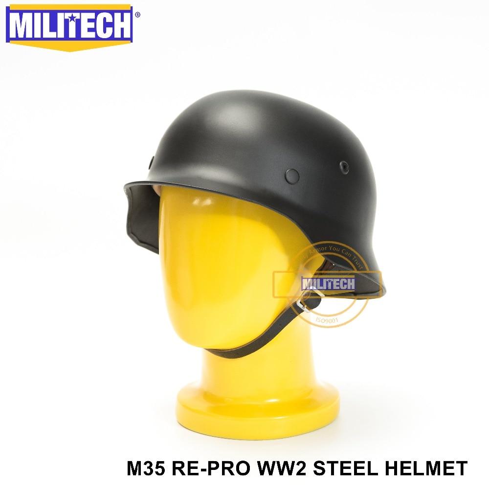 MILITECH Black WW2 German M35 Steel Helmet WW II M35 German Helmet Motor Bike Safety Helmet Black World War 2 Repro Helmet