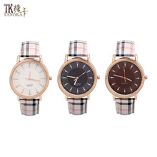 new stylish plaid women's watches can be optional three-color stainless steel quartz watch artificial leather watch strap