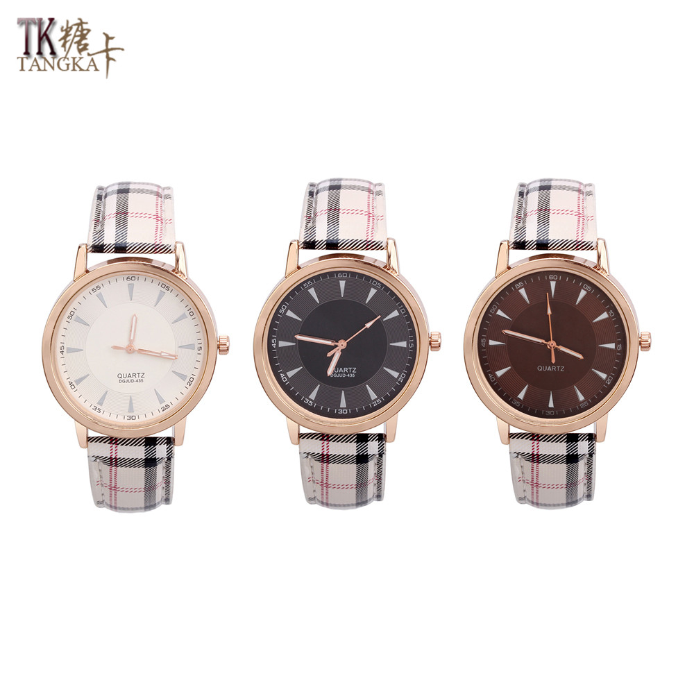 new stylish plaid women s watches can be optional three color stainless steel quartz watch artificial