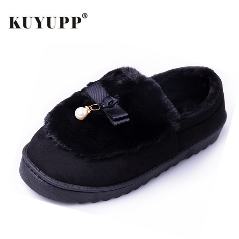 Warm Flock Women Home Slippers Winter Cute Indoor House Shoes Casual Plush Flat Women Shoes Soft Bottom Female Footwear DX1048 cry emoji cartoon flock flat plush winter indoor slippers women adult unisex furry fluffy rihanna warm home slipper shoes house