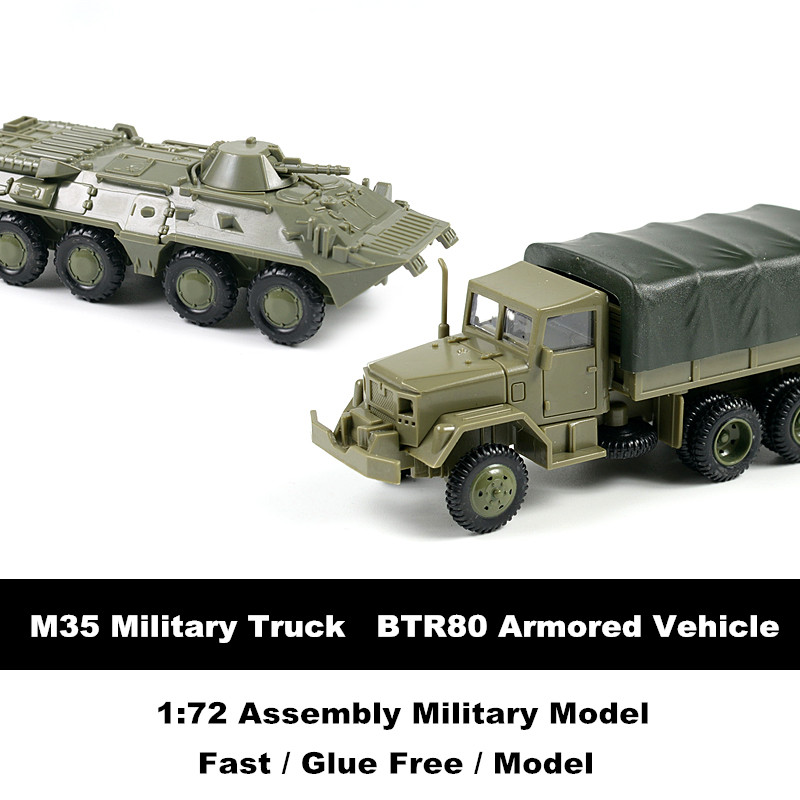 US $3 99 5% OFF|4D Model Kits 1/72 M35 Truck Soviet BTR80 Wheeled Armored  Vehicle Glue Free Assembly Military Model Toy Car Gift for Children-in  Model