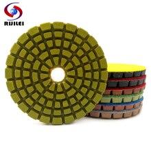 цена на RIJILEI 7PCS/Set 4inch Diamond Polishing Pads For Concrete Floor Marble thicknees 6mm Wet Grinding Discs Polishing Stone LW03