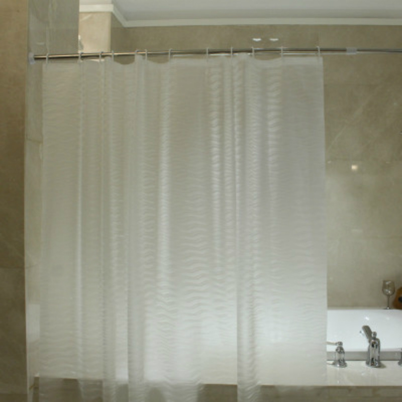 High Quality EVA Translucent Circle Line Shower Curtain Waterproof Mold Proof Solid Color Bathroom Curtains Home Decor 1PC