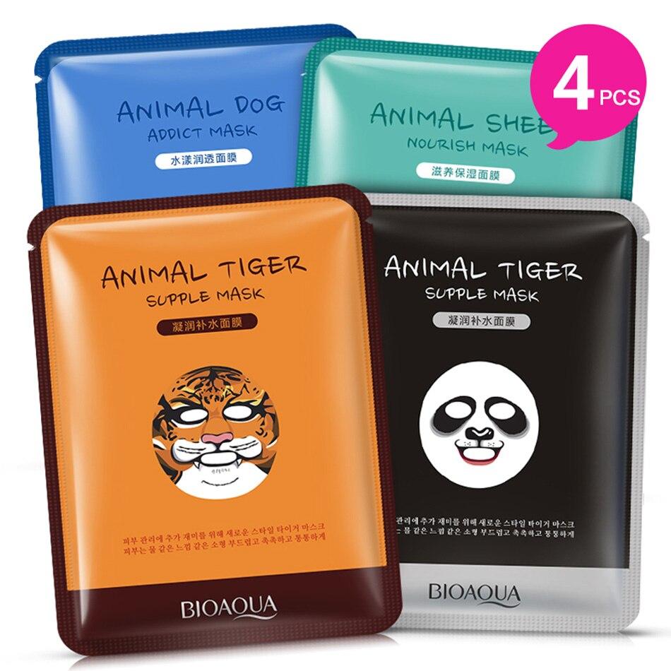 BIOAQUA 4Pcs Tiger Panda Sheep Dog Shape Animal Face Mask Moisturizing Oil Control Hydrating Nourishing Facial Masks For Women
