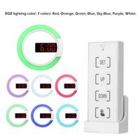 LED RGB Digital Wall Clock Modern Design 3 Brightness Modes Nightlight with Tempera Snooze Function for Home Kitchen Office