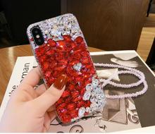 XINGDUO for iphoneX XS XR MAX 6 6S 7 8 Plus Luxury Coloured Love Transparent Crystal Diamond Mobile phone shell Full drilling