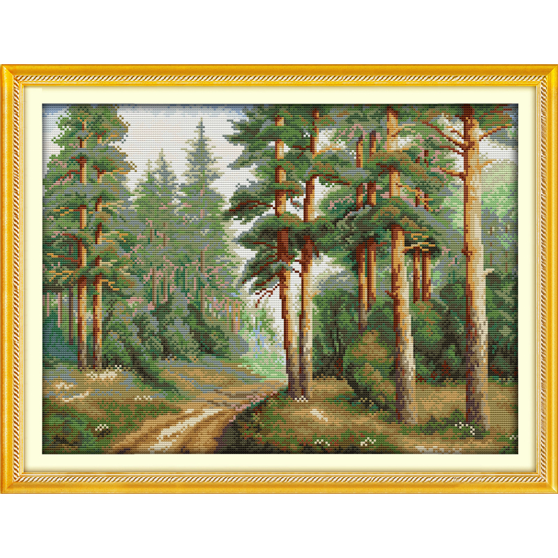 Everlasting Love Pine forest Chinese cross stitch kits Ecological cotton stamped printed 14 11CT DIY wedding decoration for home in Package from Home Garden