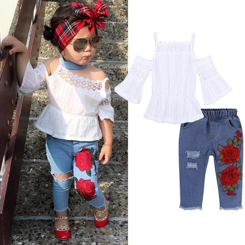 2020 Baby Girl Clothes Summer Tracksuit For Children Clothing Girls Sets T-shirt+Broken Hole Jeans Kids Clothes 1 2 3 4 5 6 Year 6