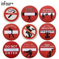[InFour +] 새로운 라운드 경고 기호 금속 표지판 홈 장식 빈티