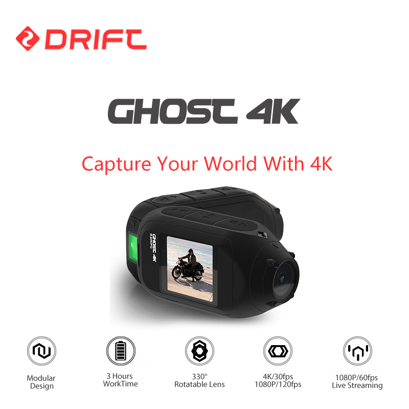 Drift Ghost 4K Action Sports Camera Motorcycle Bicycle Bike Mount Helmet Cam with WiFi Touch LCD Screen Bluetooth Remoter drift ghost 4k action camera black