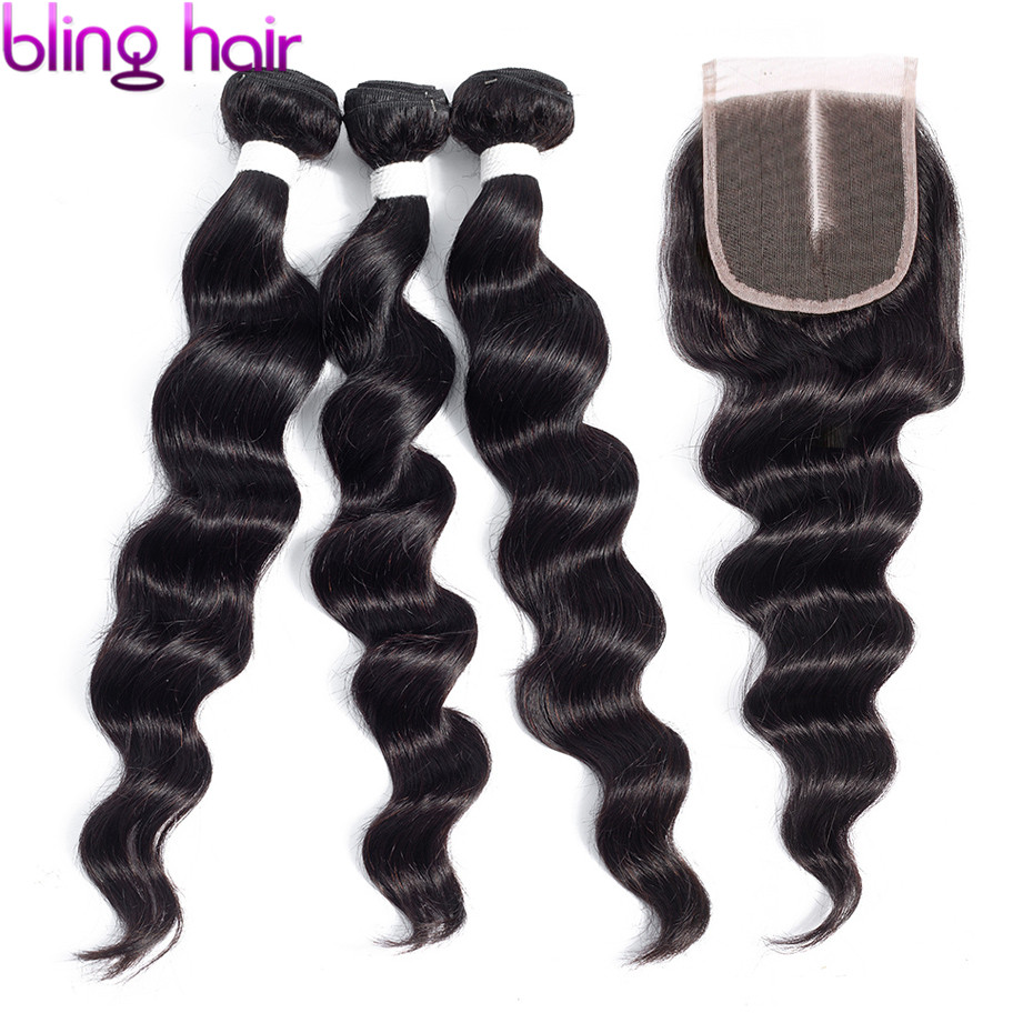 Bling Hair Loose Deep Wave Bundles With Closure Brazilian Hair Weave Bundles With Closure Remy Human