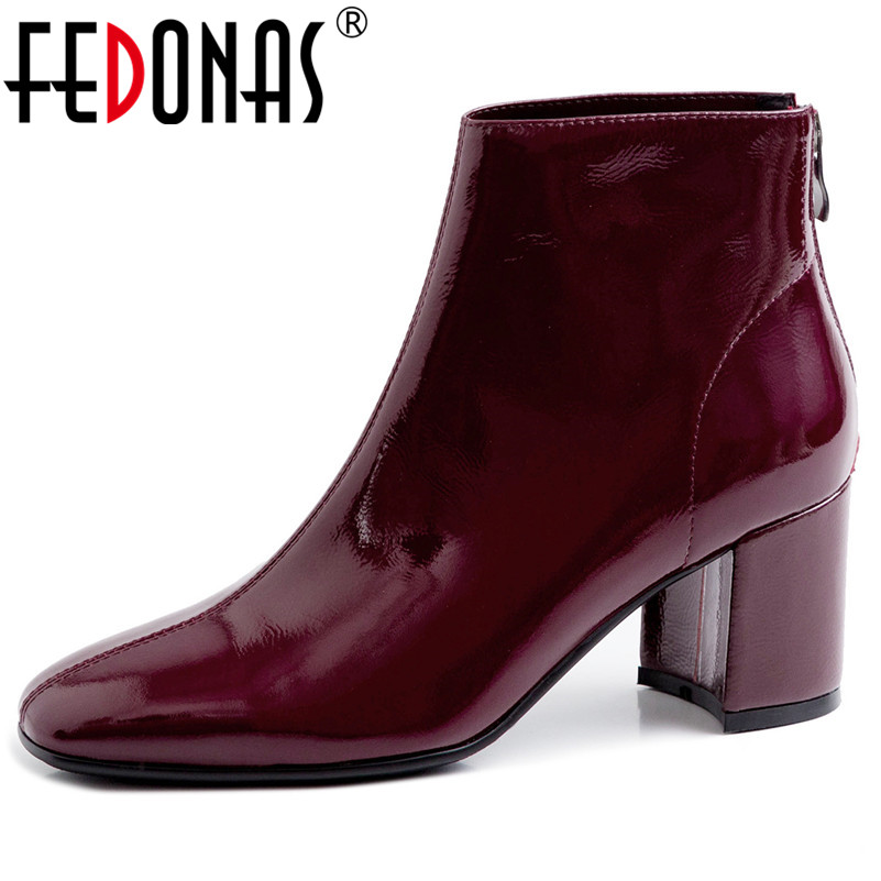 FEDONAS Brand Winter Women Ankle Boots Fashion Square Toe High Heels Genuine Cow Patent Leather Chelsea Boots Party Shoes Woman-in Ankle Boots from Shoes